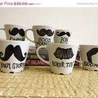Hello Mustache Mugs - Good Day Good Morning - Italian, Spanish, German, English, French, Hebrew