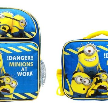 "Minions !Danger! Boys & Girls 14"" Canvas Blue Backpack w/Insulated Lunch Bag"