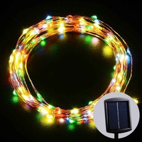 LUCKLED Solar Starry String Lights, 20ft 120LED Fairy Decorative Multi-Color Copper Wire Rope lights for Indoor/Outdoor Decor, Home, Garden, Patio, Lawn, Party and Holiday Decorations