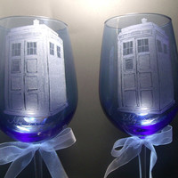 Tardis, Doctor Who , Wedding goblets wedding date or names engraved at no additional charge.