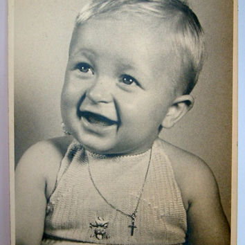 Original old vintage cabinet card of happy child , unaltered black and white photo.