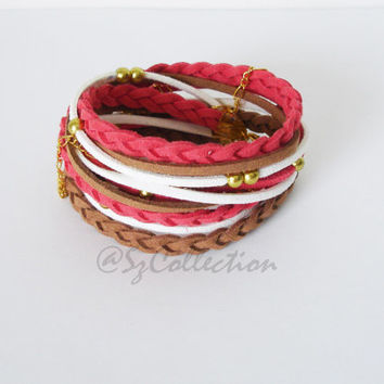 Red - Brown Boho Fashion Suede Cord Wrap Bracelet,With Gold Accents,Handmade jewelry