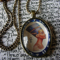 Nefertiti Egyptian Queen Necklace Classic Art Profile of Exotic Ancient Queen