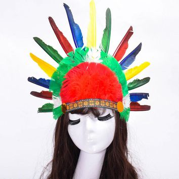 Hot Halloween Carnival Day Colorful Feather Party Hats Headband Indian Style Headwear Villus Chiefs Cap Party Headdress P0.5