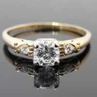 Art Deco Mid Century Engagement Ring, Simple with Nice Curves RGDI329D