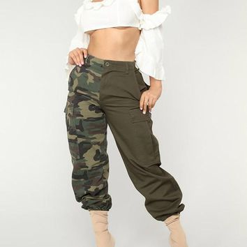 New Army Green Patchwork Camouflage Pockets Zipper High Waist Fatigue Cargo Pants