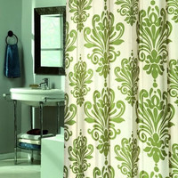 elegant Design Sage Green Ivory Fabric Shower curtain w/ Built in Flat Top Rings