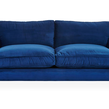 Sherlock Velvet Sofa, Royal Blue, Sofas U0026 Loveseats