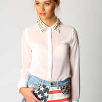 Mel American Flag Gold Stud Denim Hotpants