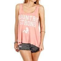 Peach Country Strong Open Arm Top