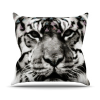 "Suzanne Carter ""Tiger Face"" Gray Animal Throw Pillow"