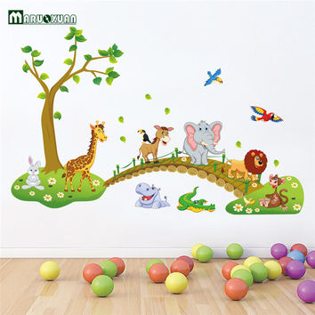 Big Jungle Animals Bridge Vinyl Wall Stickers Kids Bedroom Wallpaper Decals Cute Anime Baby Children Cartoon Room Nursery Decor