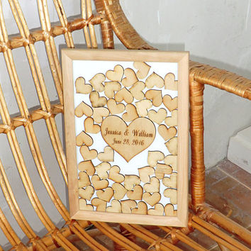 Guest Book Alternative 3D Wedding Guest Book Personalised Wooden Custom Wedding Guestbook Rustic Wedding Guest Book