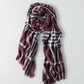 AEO Plaid Blanket Scarf , Purple
