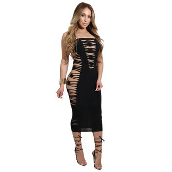 Women Nightclub Dress Sexy Hole Hollow Out Bandage Dresses Women Strapless Slim Fit Tight Dress 4 Colors Solid Mid-calf Dress