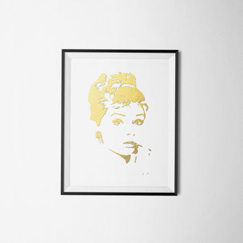 Audrey Hepburn Art, Audrey Hepburn Poster, gold foil art print, Wall art printable, bedroom art, wall art, bedroom decor, Audrey Hepburn art
