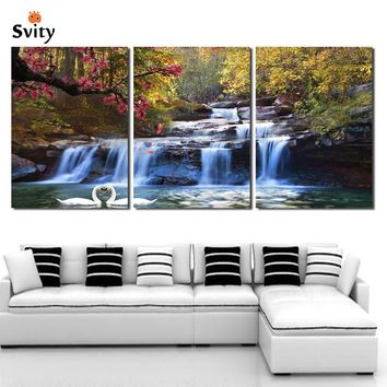 3 Piece Wall Art Strong Waterfall Natural Beauty Painting print on canvas Modular Picture Home wedding decoration Unframed