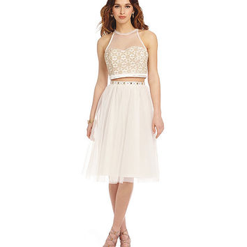 13941143052 Sequin Hearts 2-Piece Tulle Skirt Tea-Length Dress