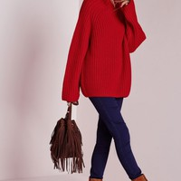 Missguided - Chunky Turtle Neck Jumper Red