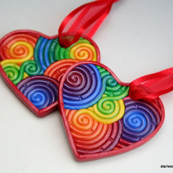 Mini Heart Ornament in Rainbow Polymer Clay Filigree (Red Border)