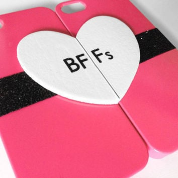 BFFs iPhone 4 cases  Pink by VanityCases on Etsy