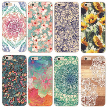 Floral Pattern Case For Apple iPhone 5 5S SE 5C 6 6S 7 Plus 6S Plus