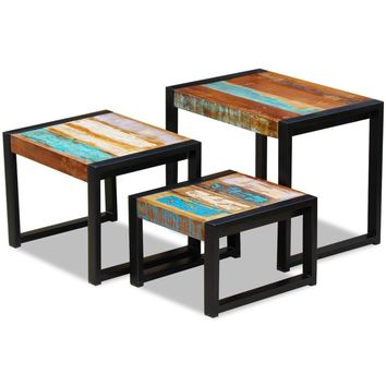 Three Piece Nesting Tables Solid Reclaimed Wood