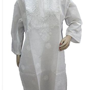 Mogul Womans Dress Kurta White Tunic Floral Embroidered Cotton long Kurti L