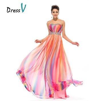 Dressv Long Gradient Rainbow Print Prom Dress 2017 sleeveless Sweetheart Beaded Evening Dress empire A-line sequins prom dress