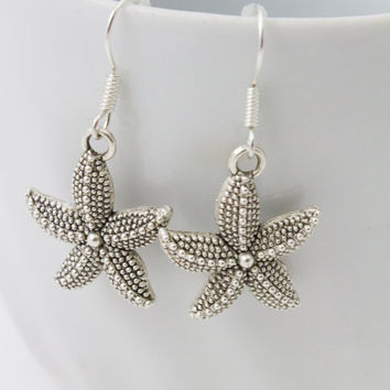 Silver Starfish Earrings - Beach Earrings, Bridesmaid Earrings, Nautical Earrings