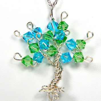 Sterling Silver Tree of Life Pendant Custom in Any Color