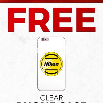 Christmas 2018 Free PFIPHN0039 Clear iPhone Case Nikon Camera Lens (Case available for 5c/5s/6/6s7/ 7+) Gift With Purchase