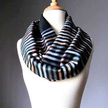 Black Infinity scarf, Pashmina loop scarf, striped scarf, Grey and Beige stripes