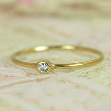 Tiny Solid 14k Gold Diamond Wedding Ring Set