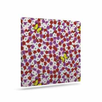 """Setsu Egawa """"Cherry Blossom And Butterfly"""" Red Pink Canvas Art"""