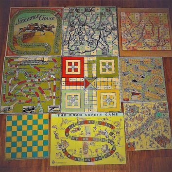 Vintage Mid Century Board Games - Ideal for Playing or Framing / Steeple Chase , Snakes and Ladders, Ludo, Transport / Game Boards