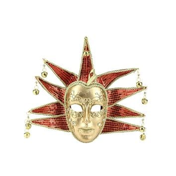 "8.5"" Gold and Red Glittered Ornate Minstrel Masquerade Mask Christmas Ornament"