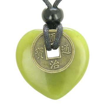 Lucky Coin Evil Eye Protection Amulet Green Serpentine 30mm Heart Donut Pendant Necklace