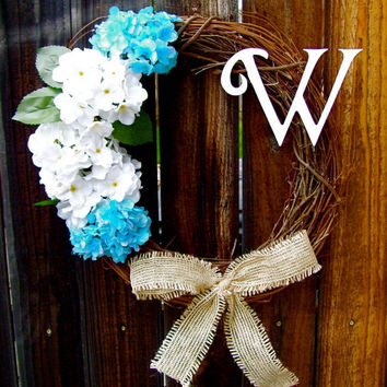 "Personalized 18"" Wreath, Hydrangea Wreath, Front Door Decor, Burlap Bow Wreath, Year Round Wreath, Etsy Wreath"