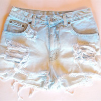 Pastel blue white/ Studded&Destroyed/ High Waisted by RomaniRose