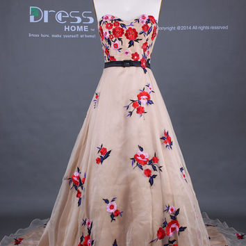 Unique 2015 Champagne Sweetheart Red Flowers Embroidery A Line Organza Wedding Dress/Court Train Wedding Gown/Colorful Bridal Dress DH283