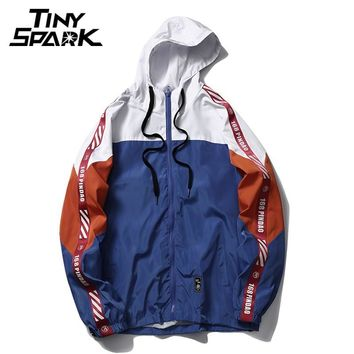 Trendy 2018 Autumn Windbreaker Jacket Hip Hop Men Hoodie Jacket Patchwork Full Zip Pullover Tracksuit Jackets Fashion Streetwear Ribbon AT_94_13