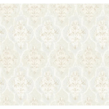 York Wallcoverings RG5006 Fresco Cream Blush, Light Blue Gray and Silver Moroccan Damask Wallpaper
