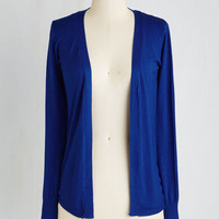 Mid-length Long Sleeve Simple Sweetness Cardigan in Cobalt