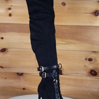 So Me Ashanti Black Pointy Toe High Heel OTK Above Knee Boots