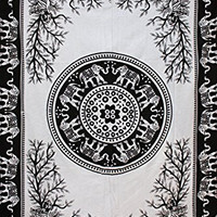Clearance Sale Elephant Mandala Tapestry Black and White Beach Throw