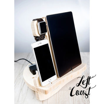Apple Watch Charging Station Dock iPhone iPad Stand Android Gift for Her Men Women Wedding Bride Groom Boyfriend IncludesUSB Charger Sailing