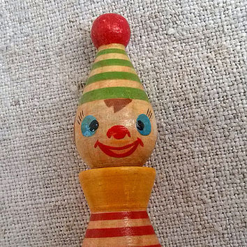 Vintage wooden clown Old figurine jester Buffoon mottled bright clothes Role-playing games Retro children's room Nursery decor Children doll