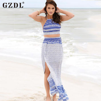 GZDL Bohemian Women Ladies Halter Backless Crop Top Chiffon Split Boho Summer Beach Long Maxi Dress Vestidos De Fiesta CL2872
