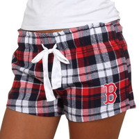 Boston Red Sox Women's Flannel Plaid Shorts – Red